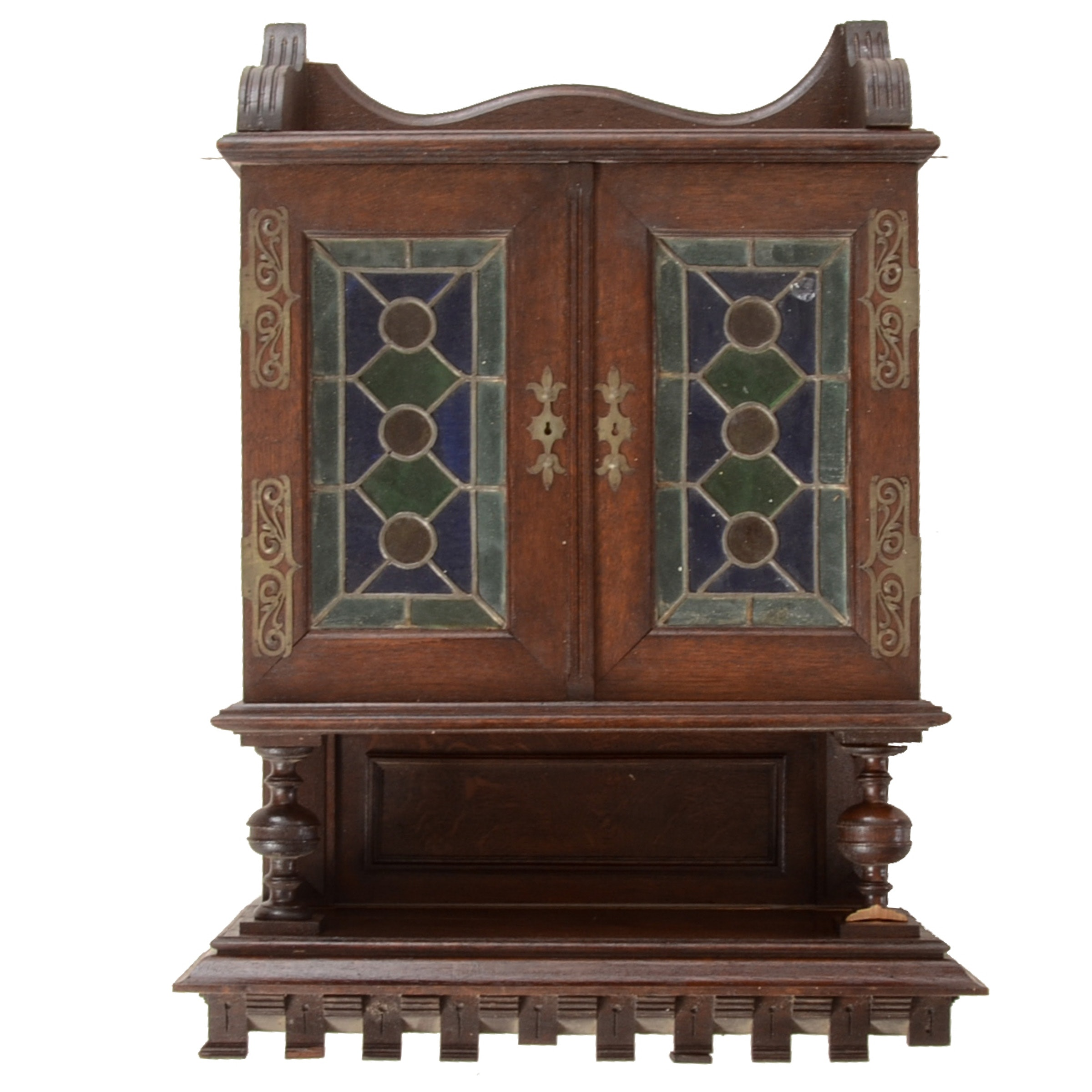 Antique English Shelf and Cabinet with Stained Glass Doors