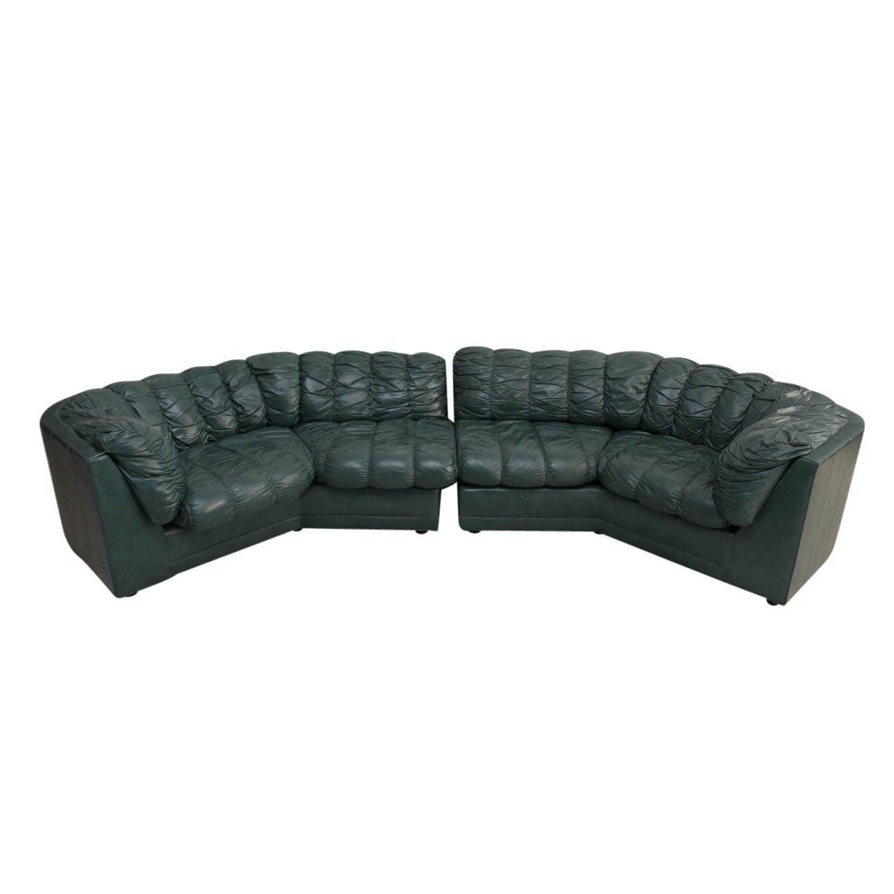 Thomasville Green Leather Two Piece Sectional Sofa ...