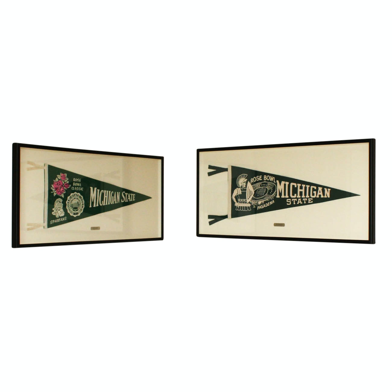 Vintage Framed Michigan State Pennant Flags Including the 1956 Rose Bowl