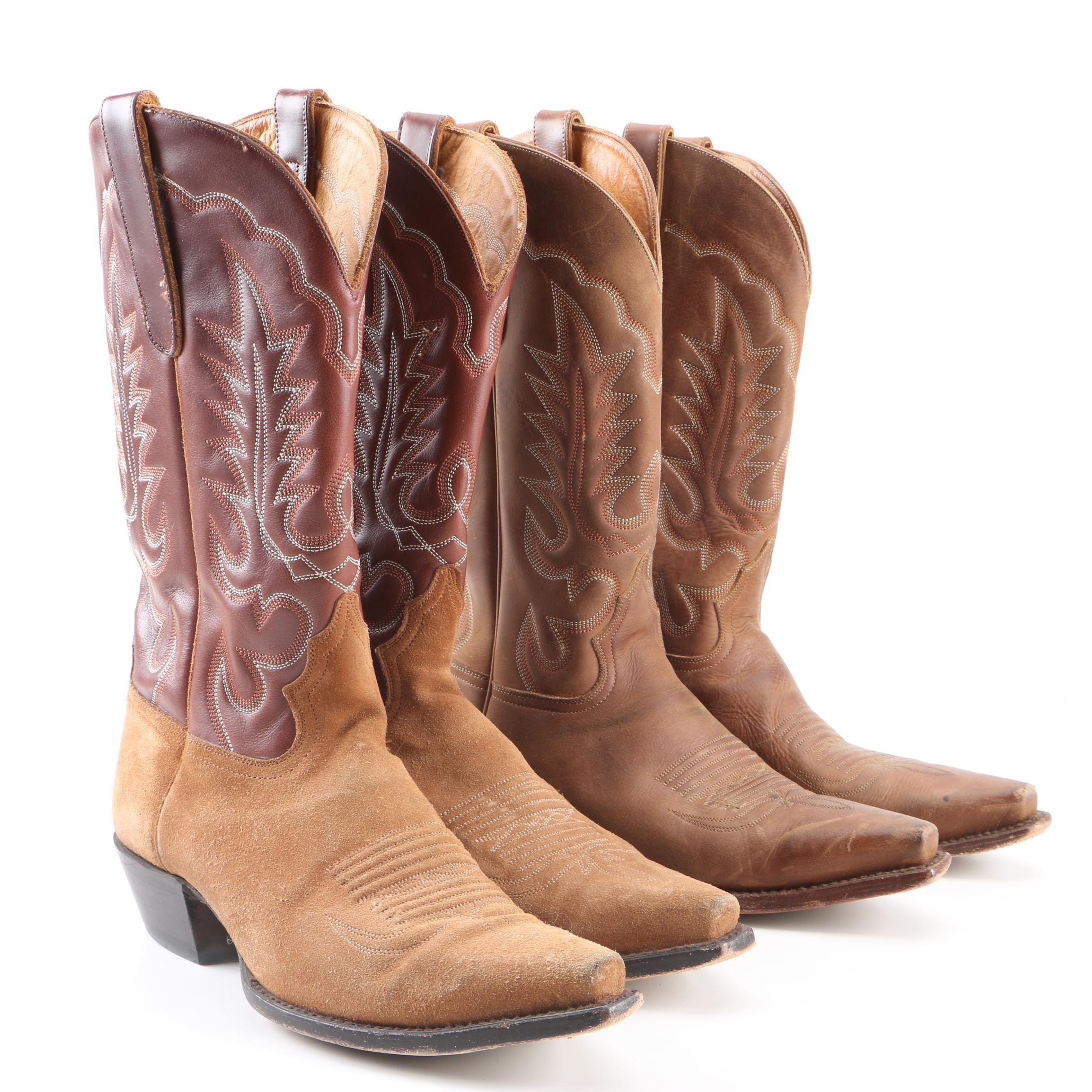 Men's Brown Leather and Suede Cowboy Boots
