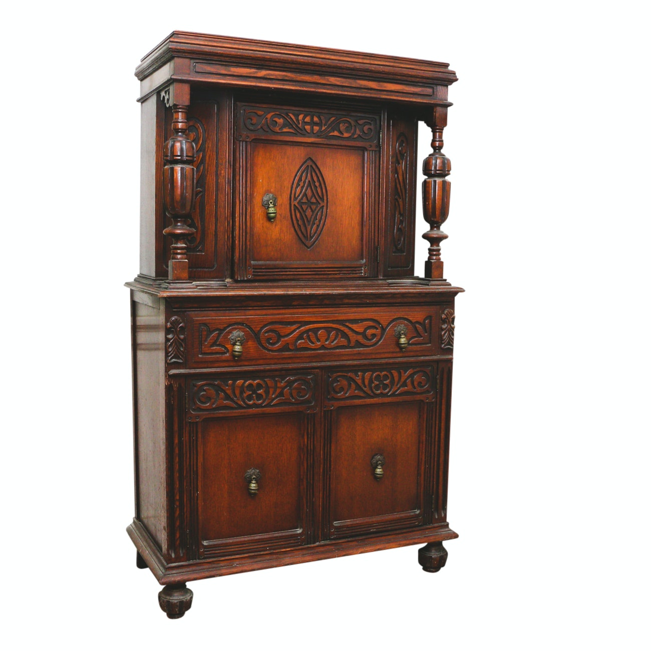 "Tudor Style ""Court Cupboard"" China Cabinet in Walnut Veneers"