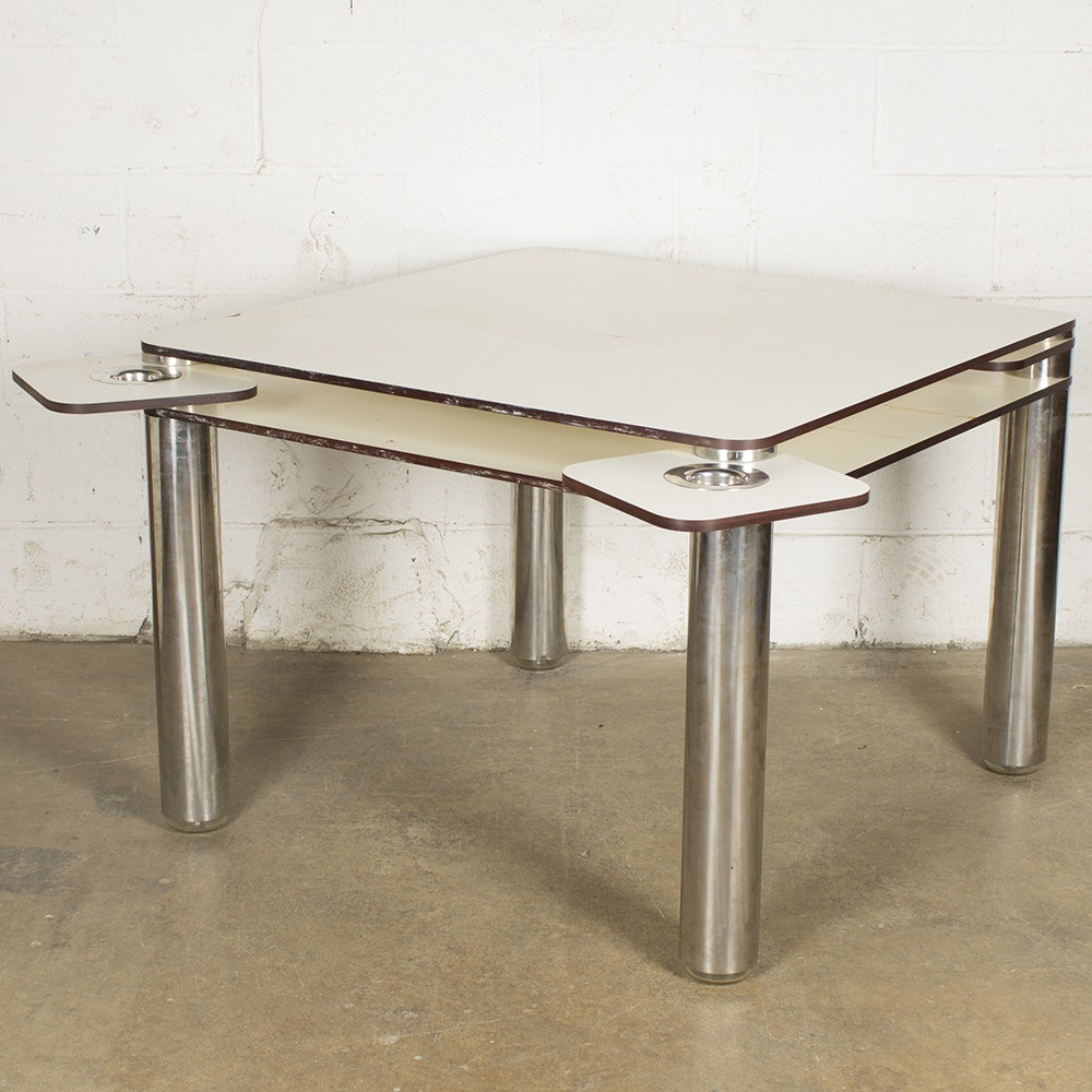 Mid Century Modern Card Table with Ash Receivers