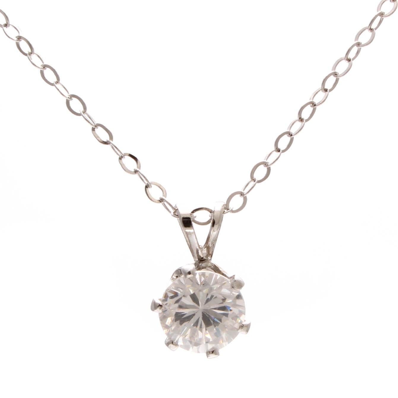 Sterling Silver Necklace with Glass Solitaire