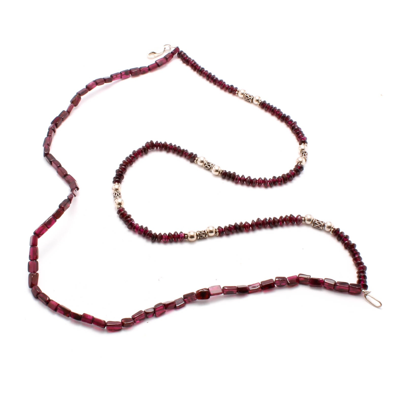 Sterling Silver Double Strand Garnet Bead Necklace