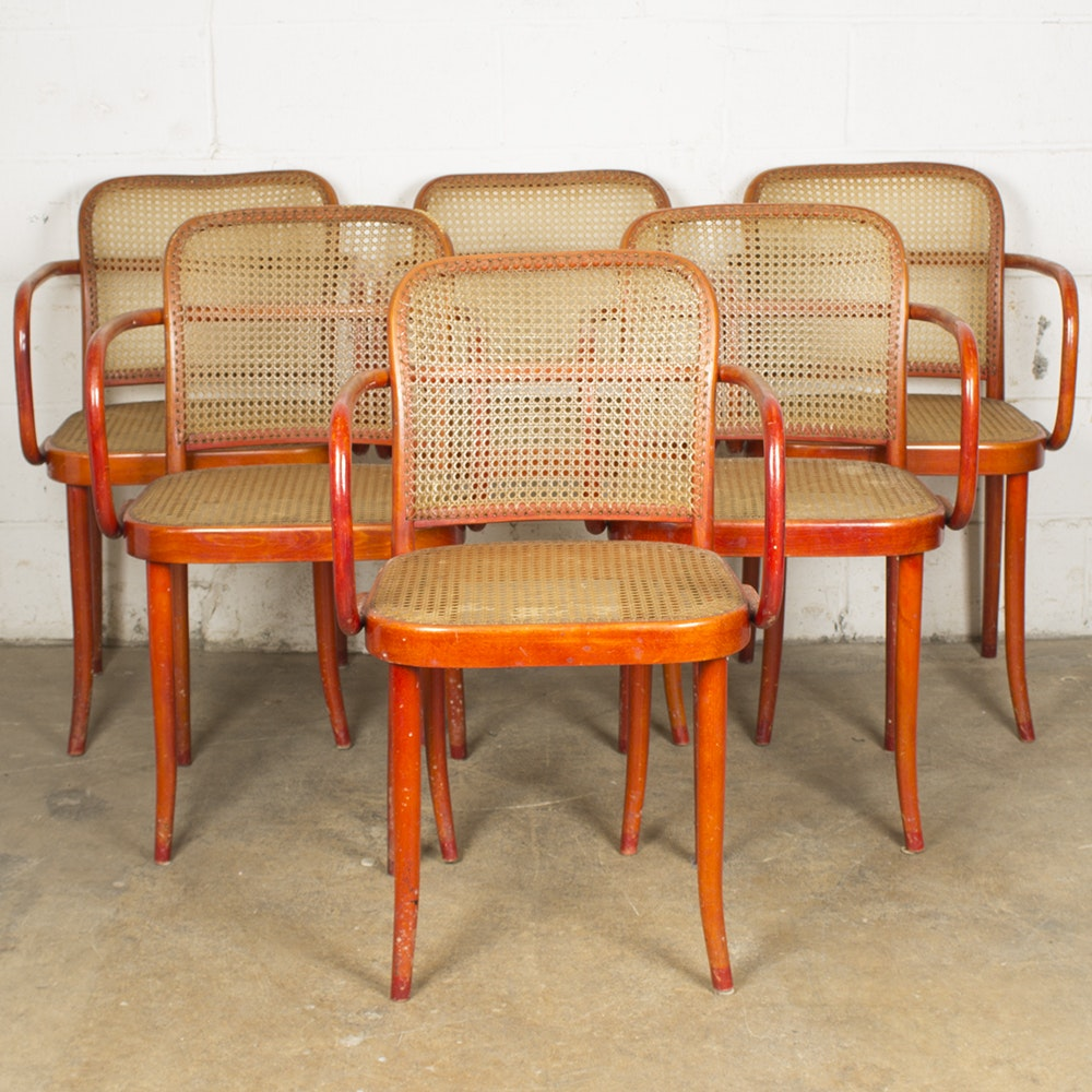 Six Vintage Frank Style Bentwood Armchairs from Stenig