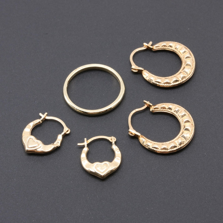 10k Yellow Gold Hoop Earrings And Infant Ring