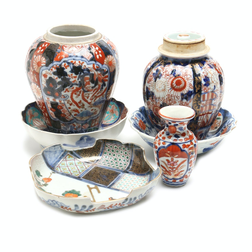 Japanese Imari Porcelain Bowls And Vases Ebth