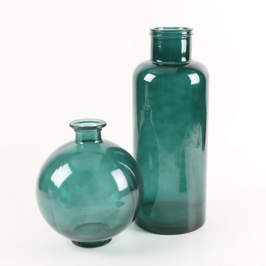 Vitrocolor Recycled Glassware Green Pressed Glass Vases Made In
