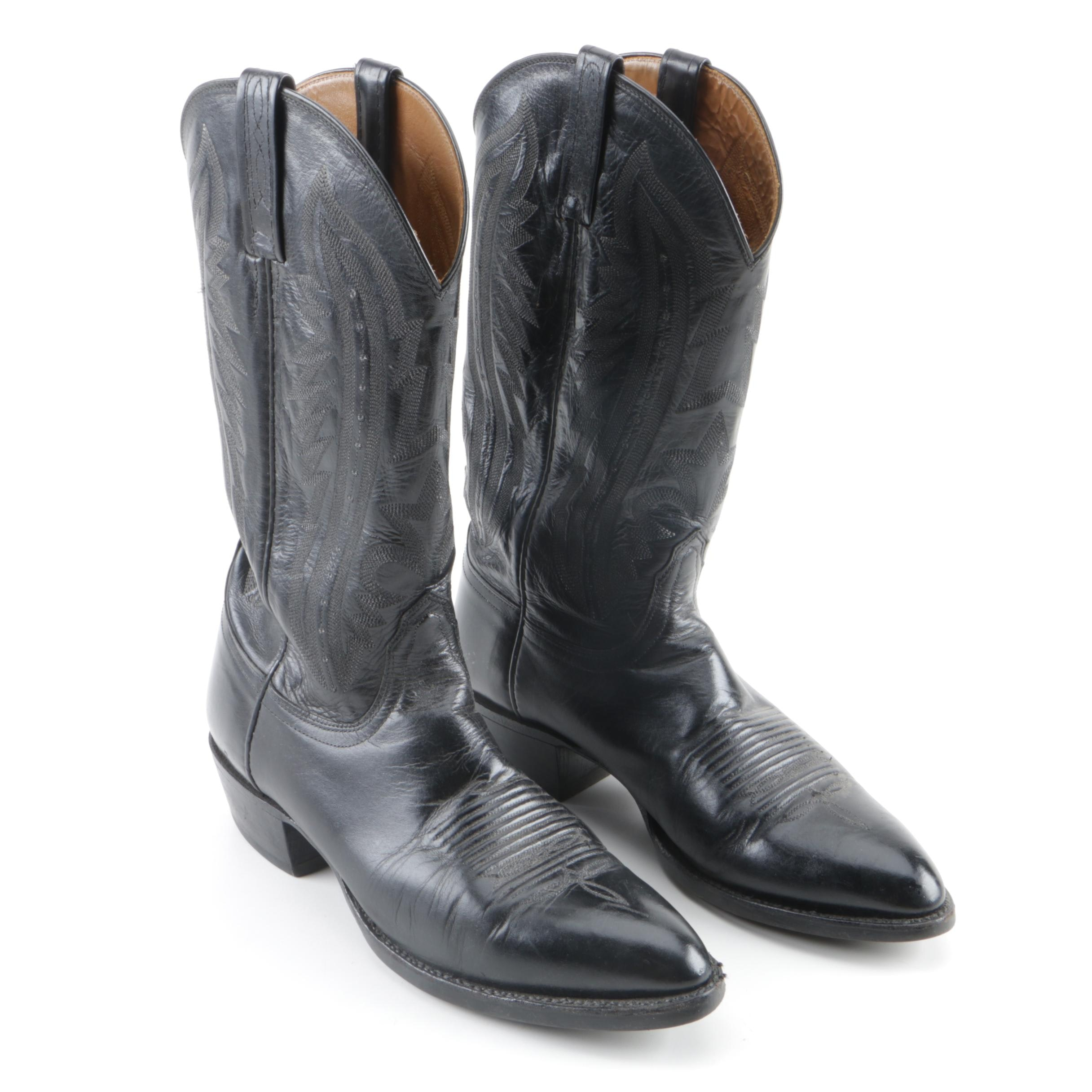 Men's Lucchese 2000 Black Leather Cowboy Boots