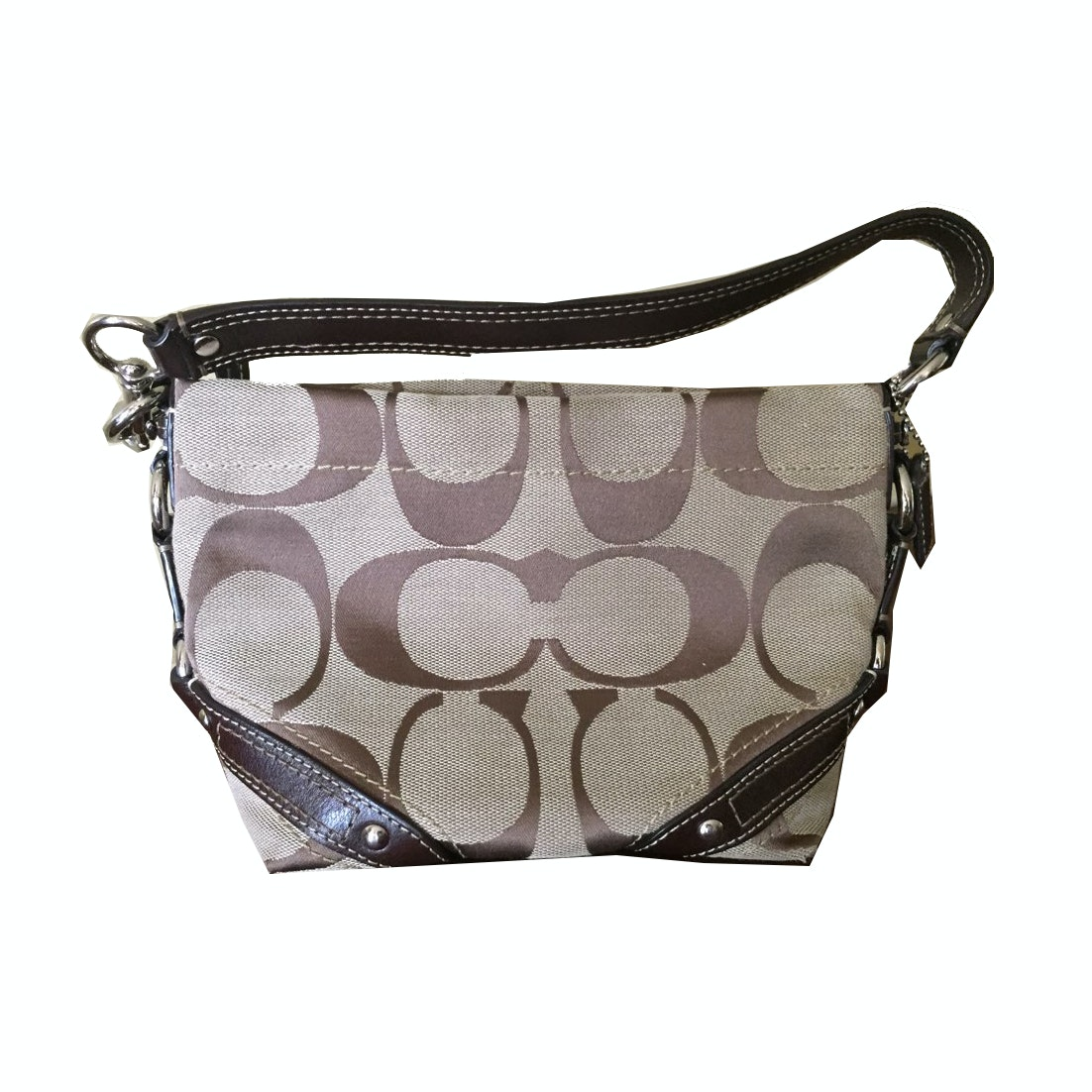 Coach Carly Signature Jacquard and Leather Handbag