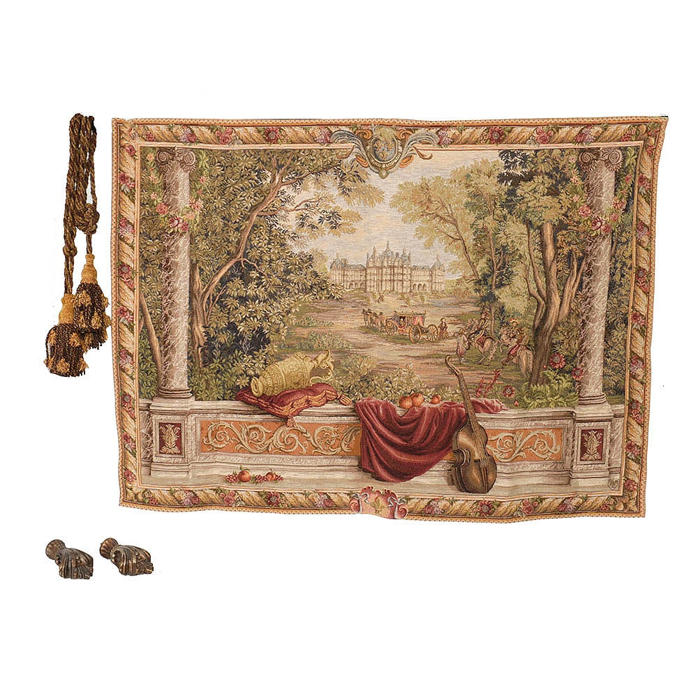 """""""Verdure au Chateau"""" Woven Wall Tapestry with Tassels and Rod FInials"""