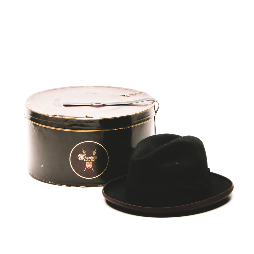 eb652c5490c64 Vintage Dobbs Fifth Avenue Felted Fedora Hat Trimmed in Grosgrain with Box    EBTH