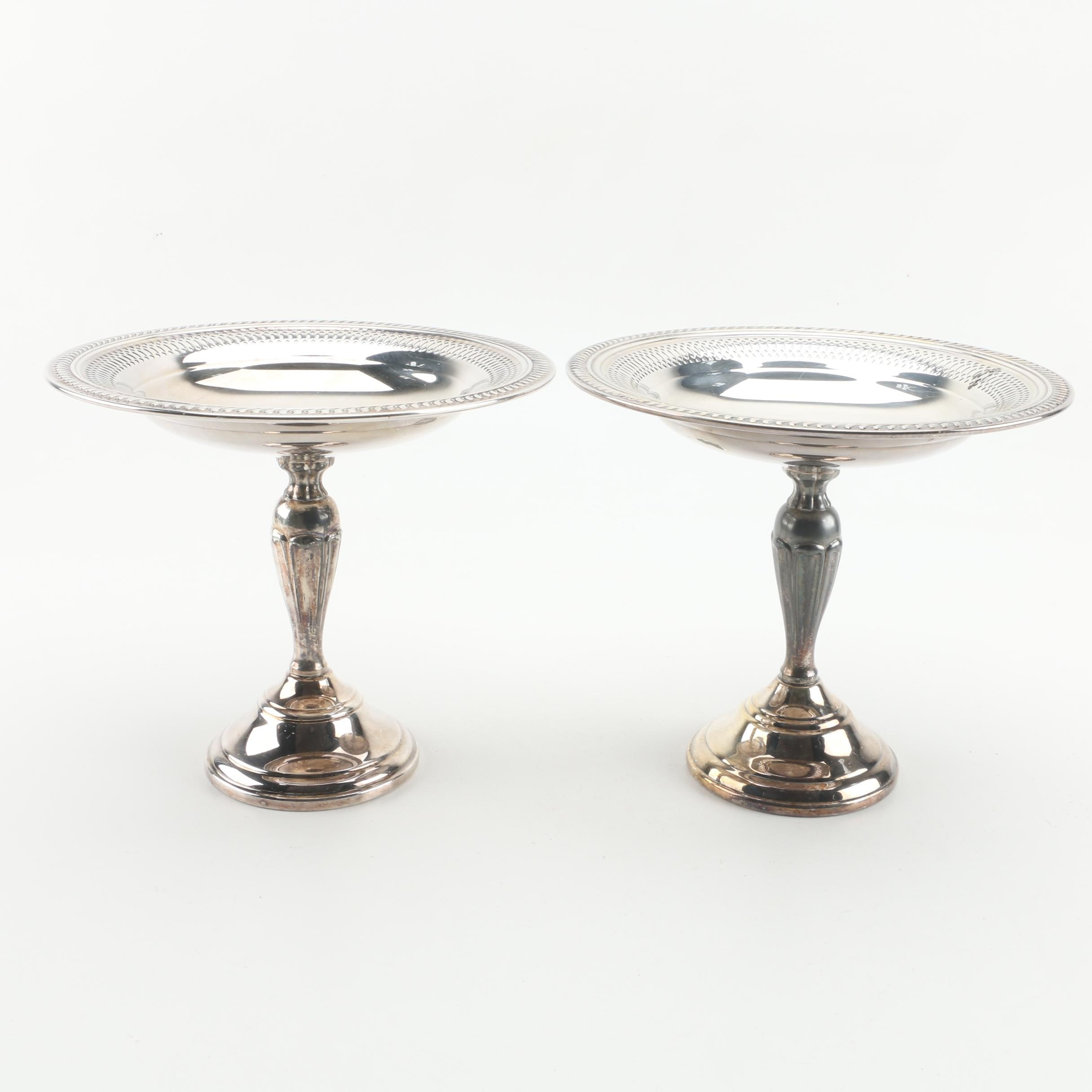 Silver Plate Compotes with Pierced Gadrooning Rims