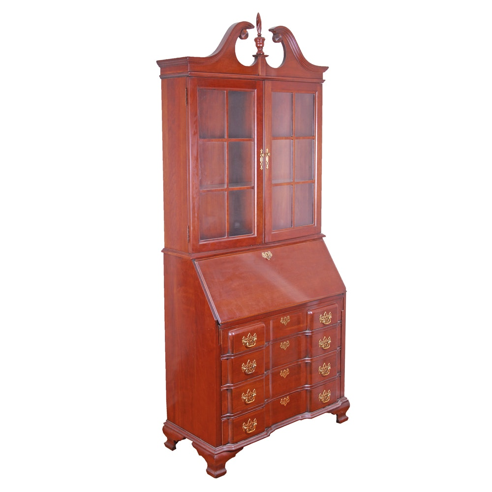 Colonial Style Secretary with Curio Hutch by Jasper Cabinet
