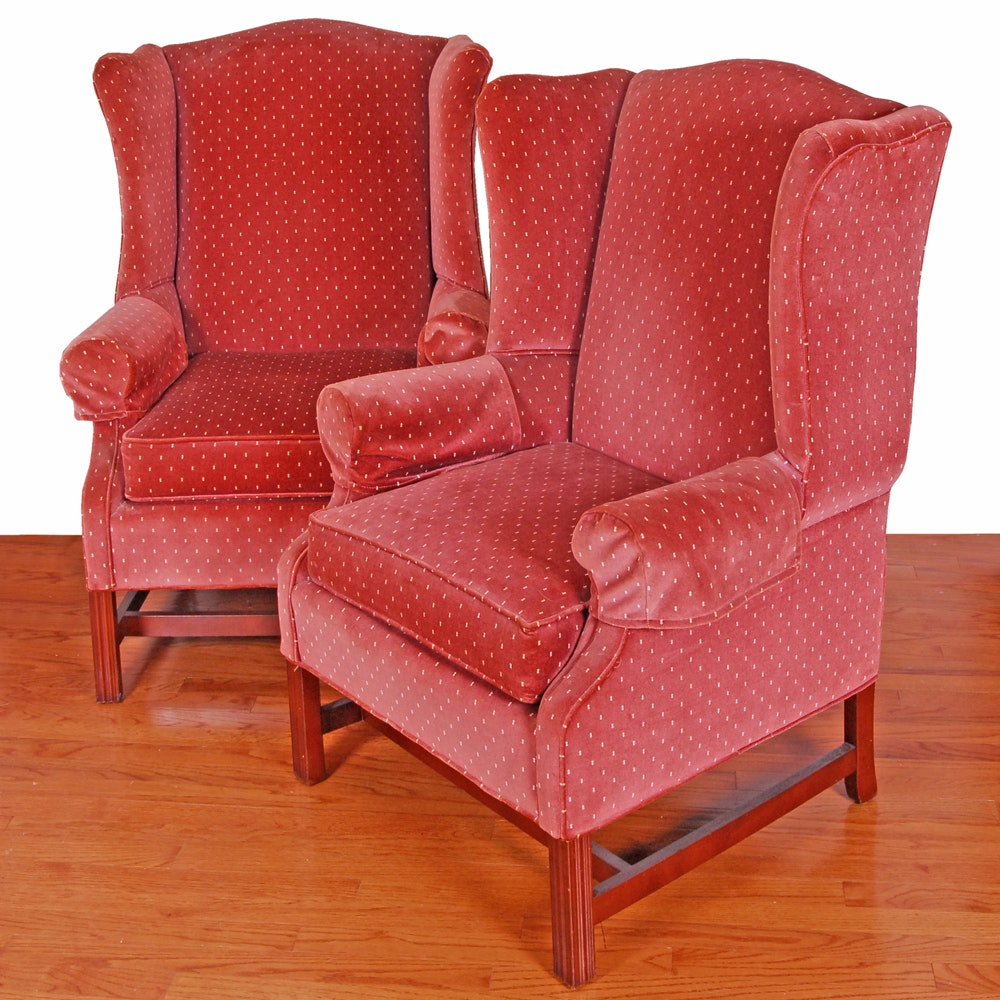 Vintage Chippendale Style Upholstered Wingback Armchairs by Pennsylvania House