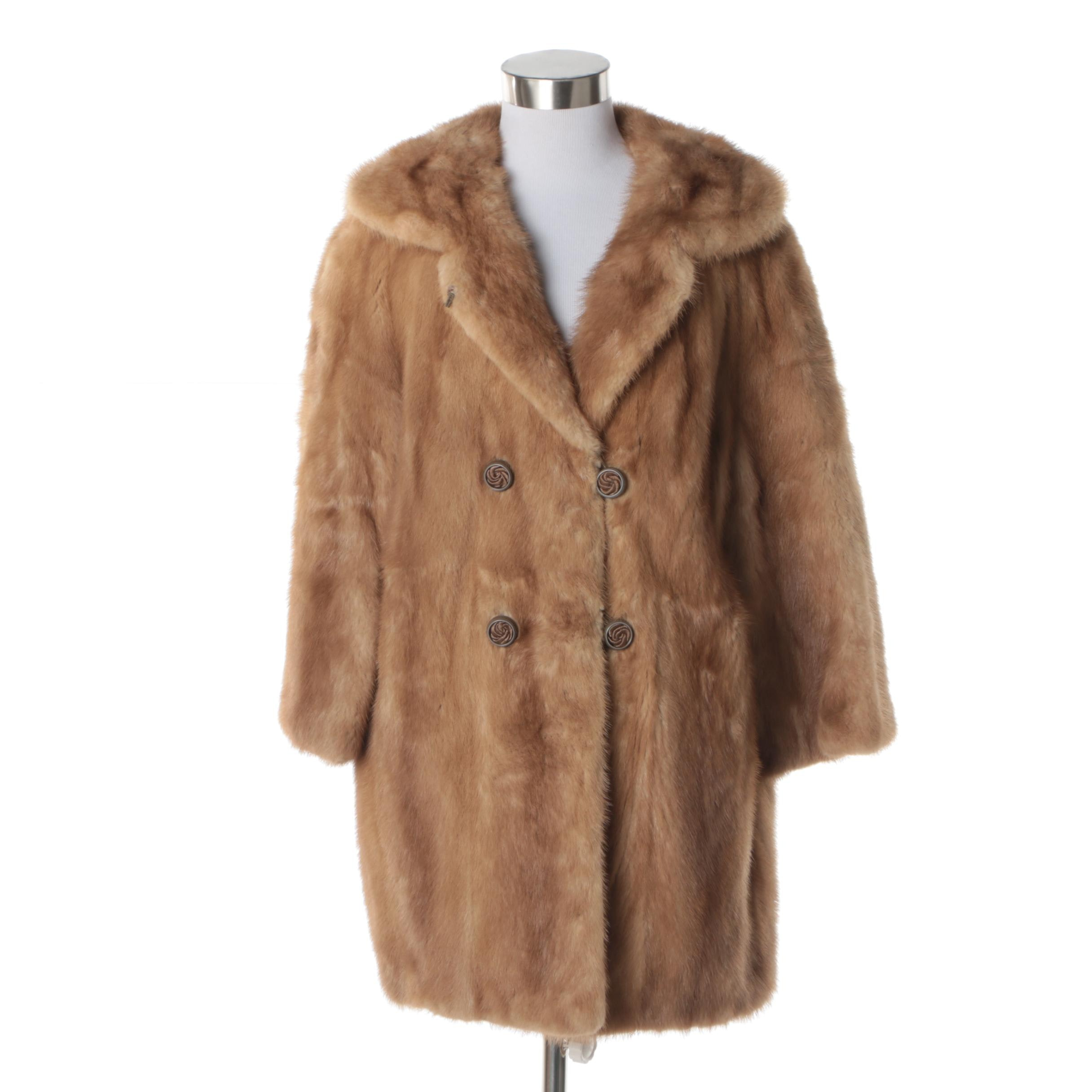 Women's Vintage Light Brown Mink Fur Double-Breasted Coat