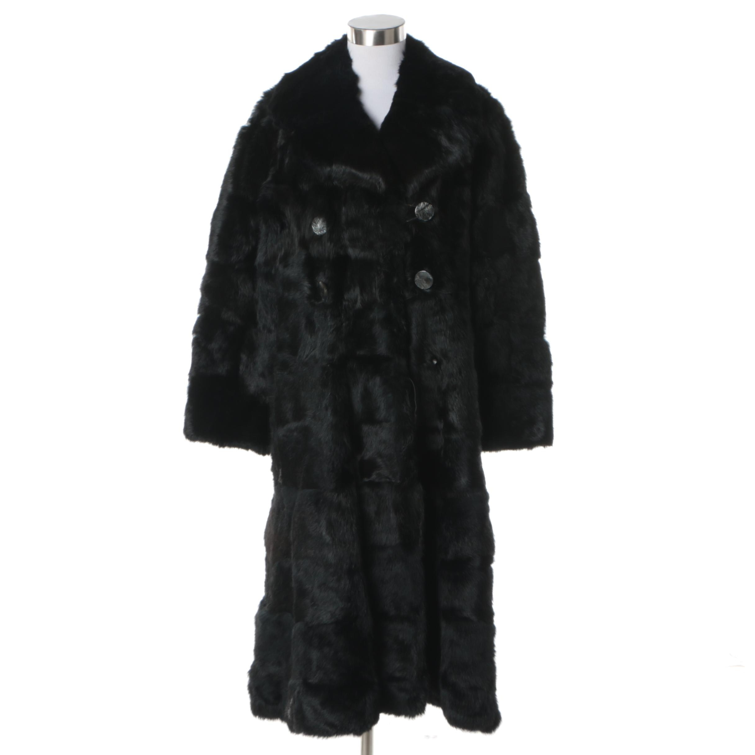 Women's Circa 1970s Vintage Black Rabbit Fur Coat
