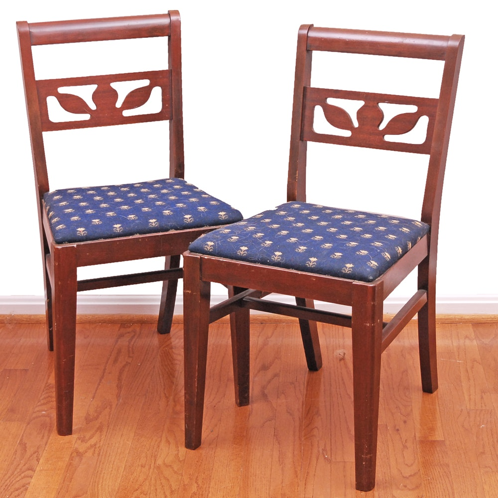 Floral Silhouette Back Side Chairs