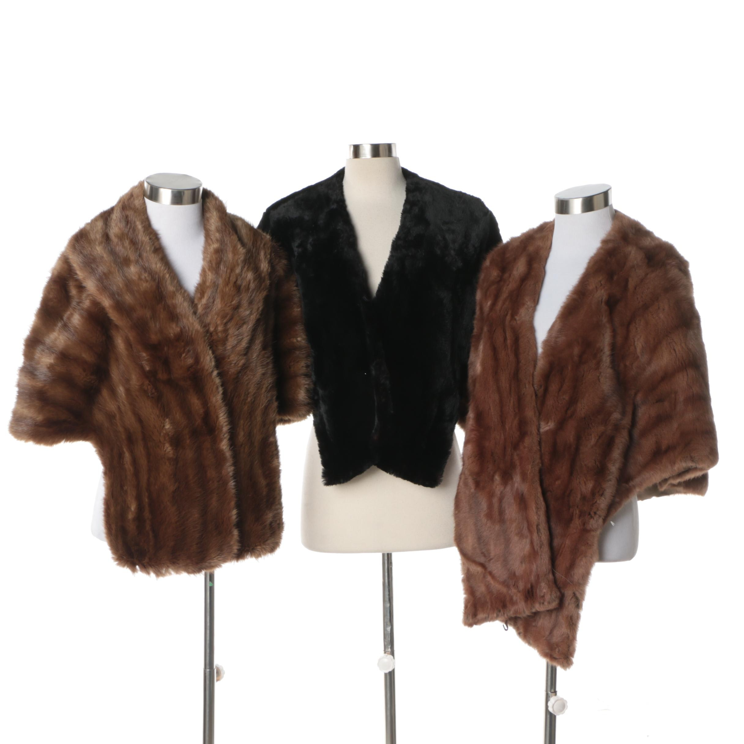 Vintage Sheared Dyed Black Beaver Fur, Muskrat Fur and Squirrel Fur Stoles