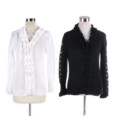 6c705acb1769a Women s Anne Fontaine Long Sleeve Black and White Dress Shirts