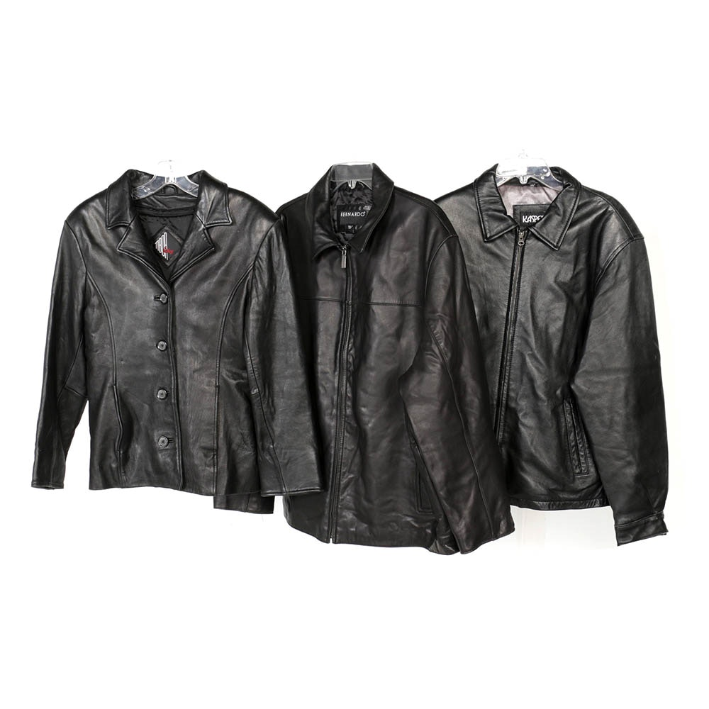 Men's and Women's Black Leather and Faux Leather Jackets Including Bernardo