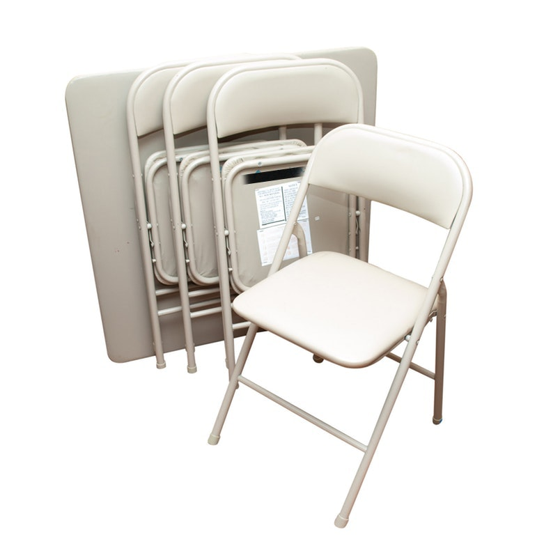 Collapsible Game Table with Four Padded Folding Chairs
