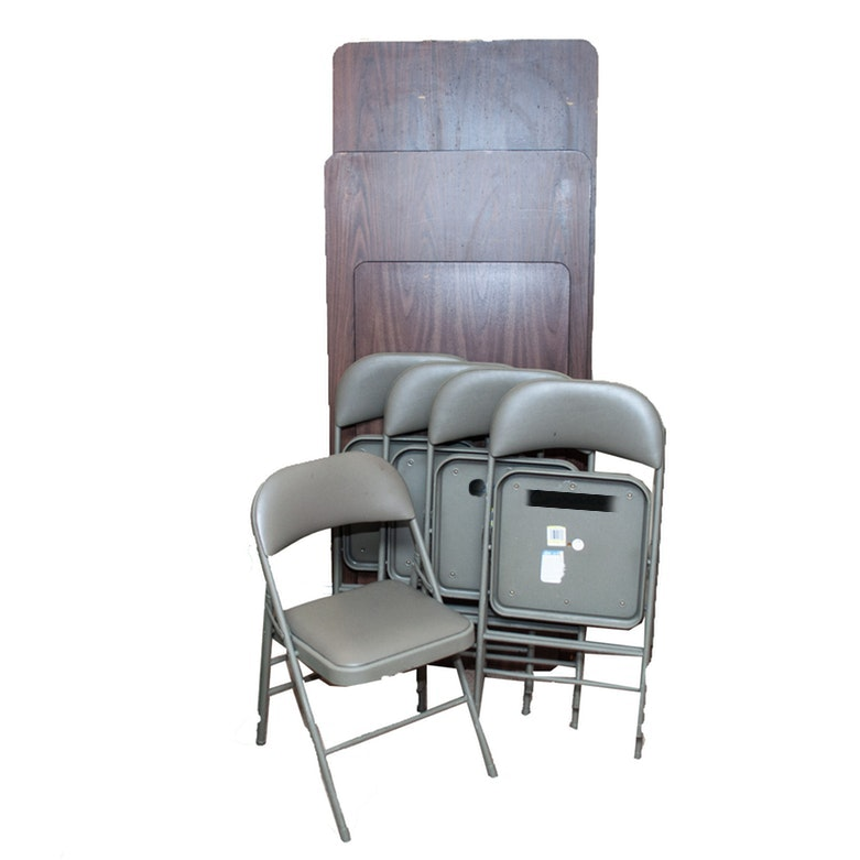 Three Banquet Tables and Five Folding Chairs