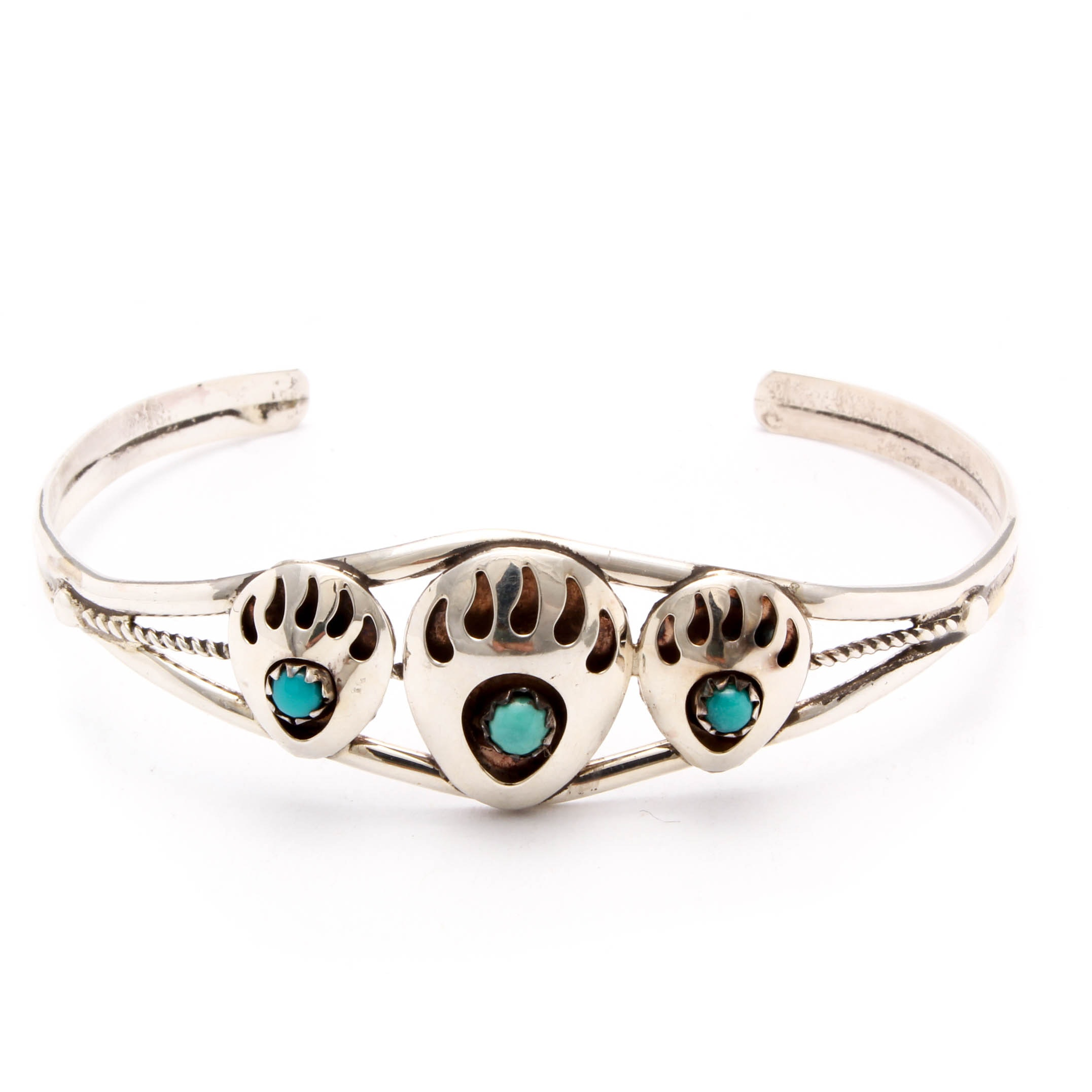 Sterling Silver Imitation Turquoise Native American Style Cuff