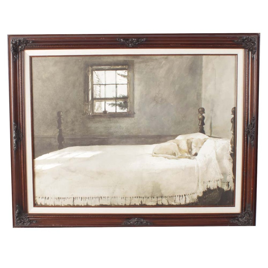 Offset Lithograph Of Master Bedroom By Andrew Wyeth