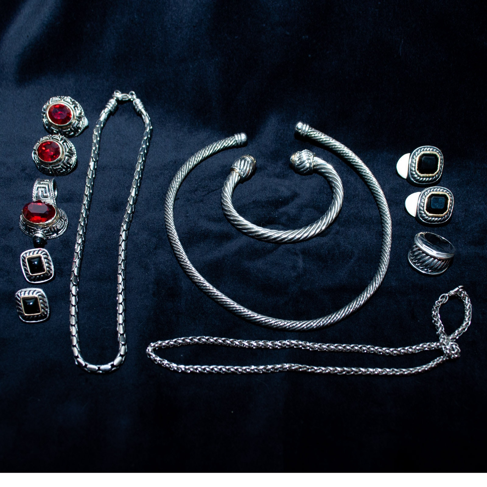 Silver and Gold Tone Cable Jewelry with Red and Black Glass Stones