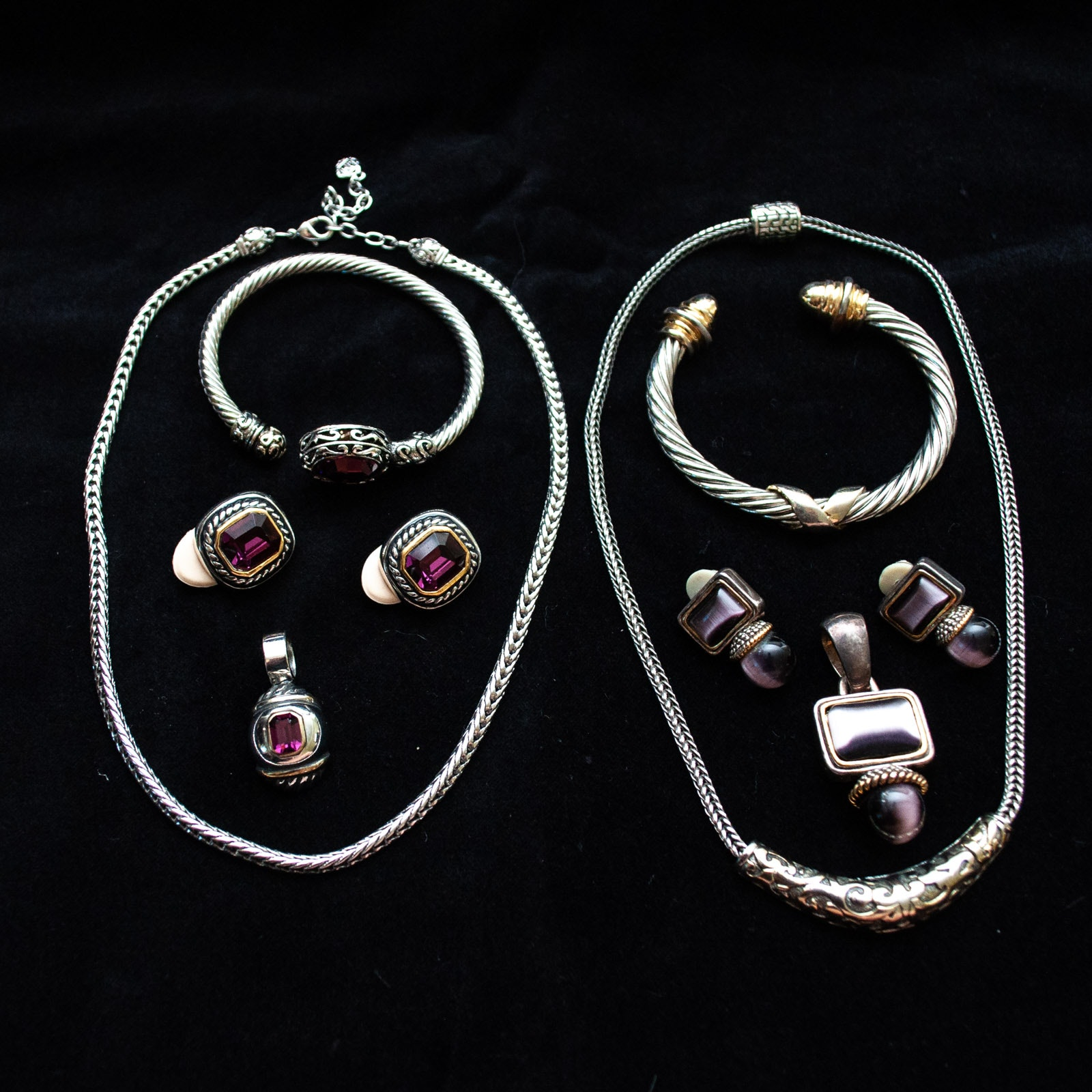 Silver and Gold Tone Cable Jewelry with Violet Glass Stones