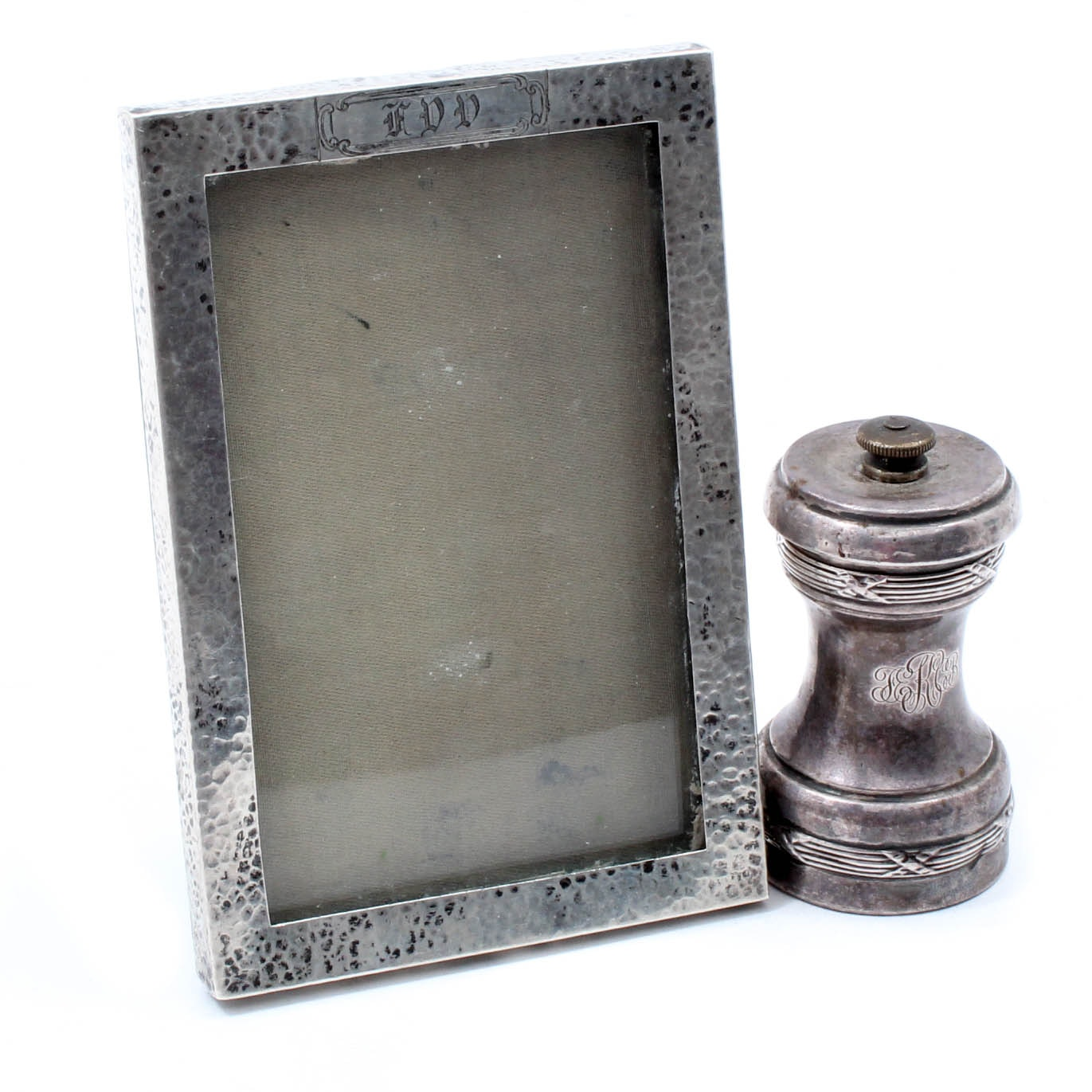 Antique Hammered Sterling Silver Picture Frame And Pepper Mill Ebth