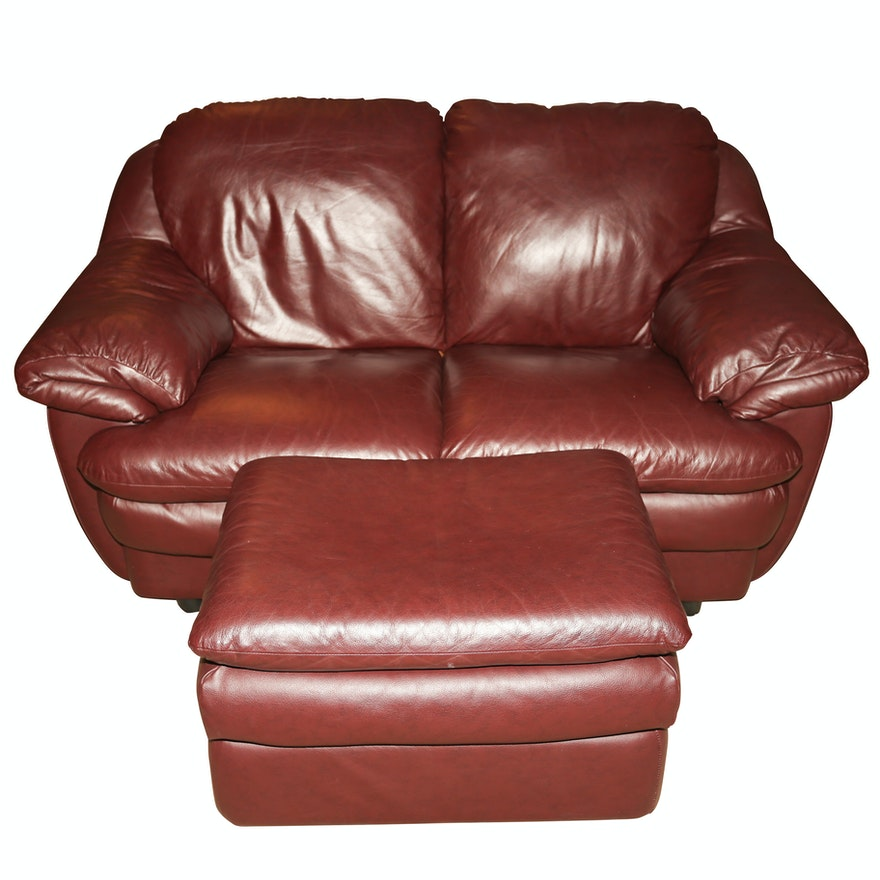 Excellent Burgundy Faux Leather Loveseat And Ottoman Ebth Evergreenethics Interior Chair Design Evergreenethicsorg