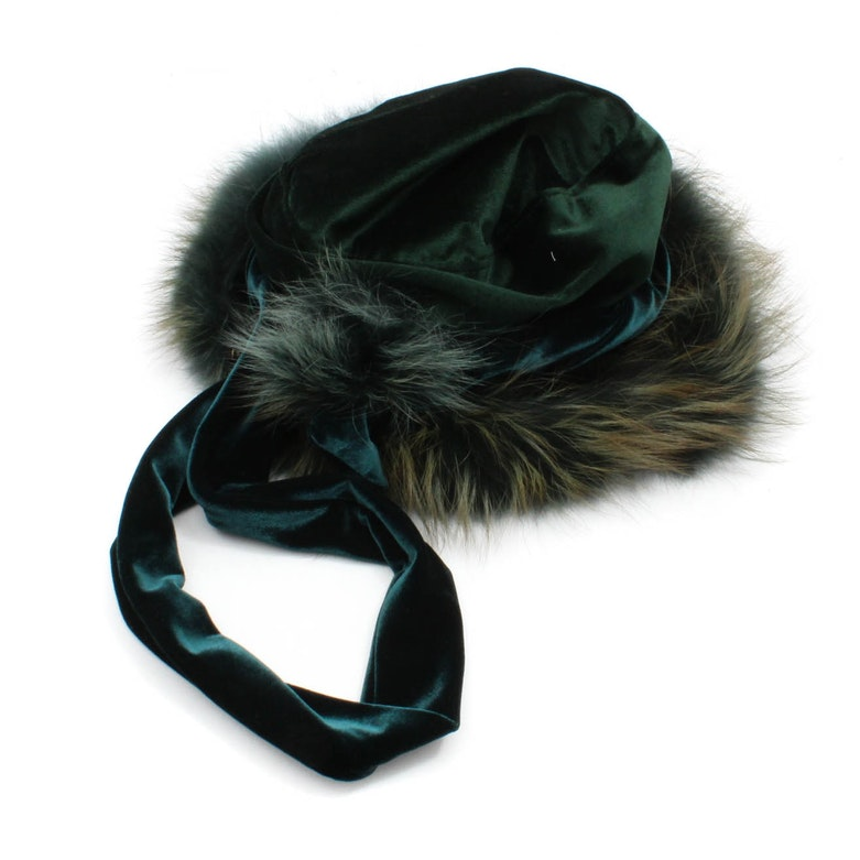 6941d4d7025 Tatiana Rakhmania Couture Velvet Hat Trimmed in Dyed Fox Fur   EBTH