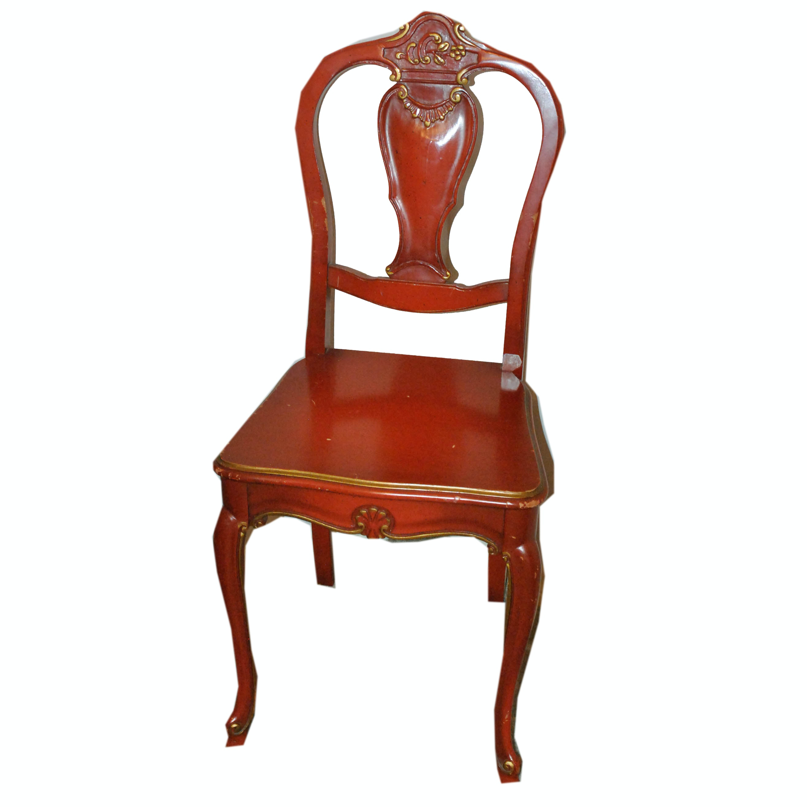 Vintage French Provincial Style Red Painted Wooden Side Chair