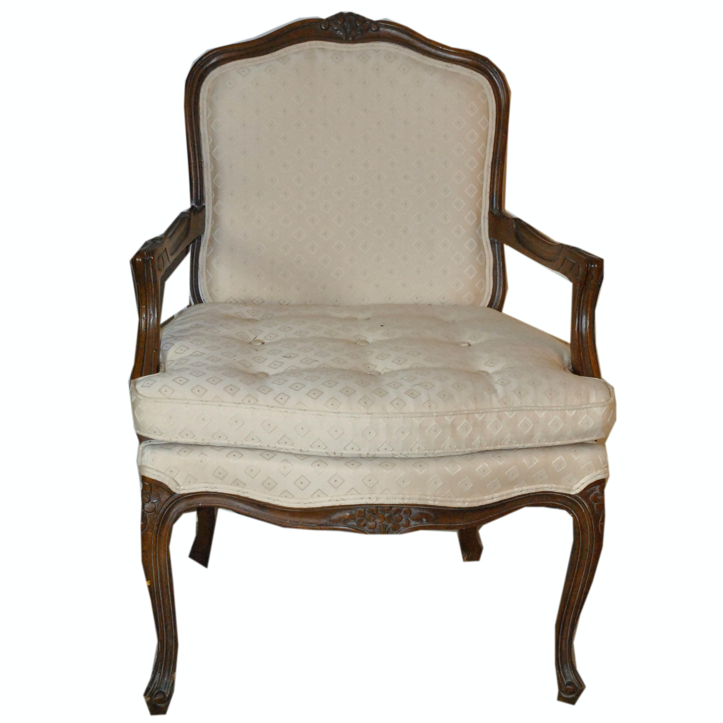 French Provincial Style Upholstered Armchair by Woodmark Originals