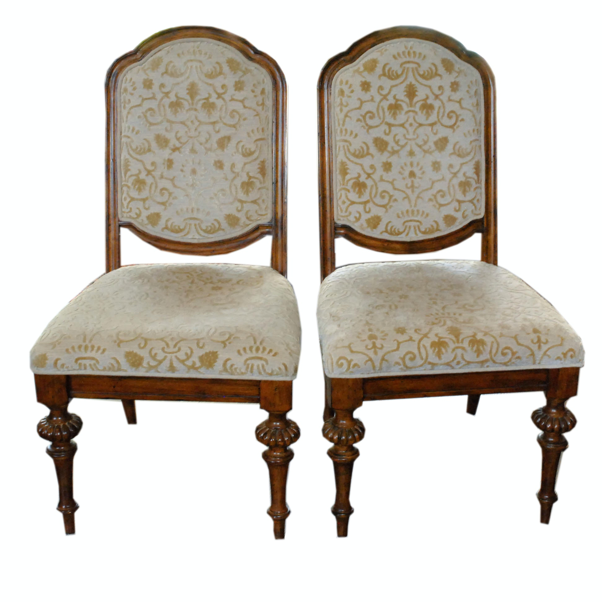 Cream and Gold Upholstered Louis XVI Style Side Chairs by Lane Furniture
