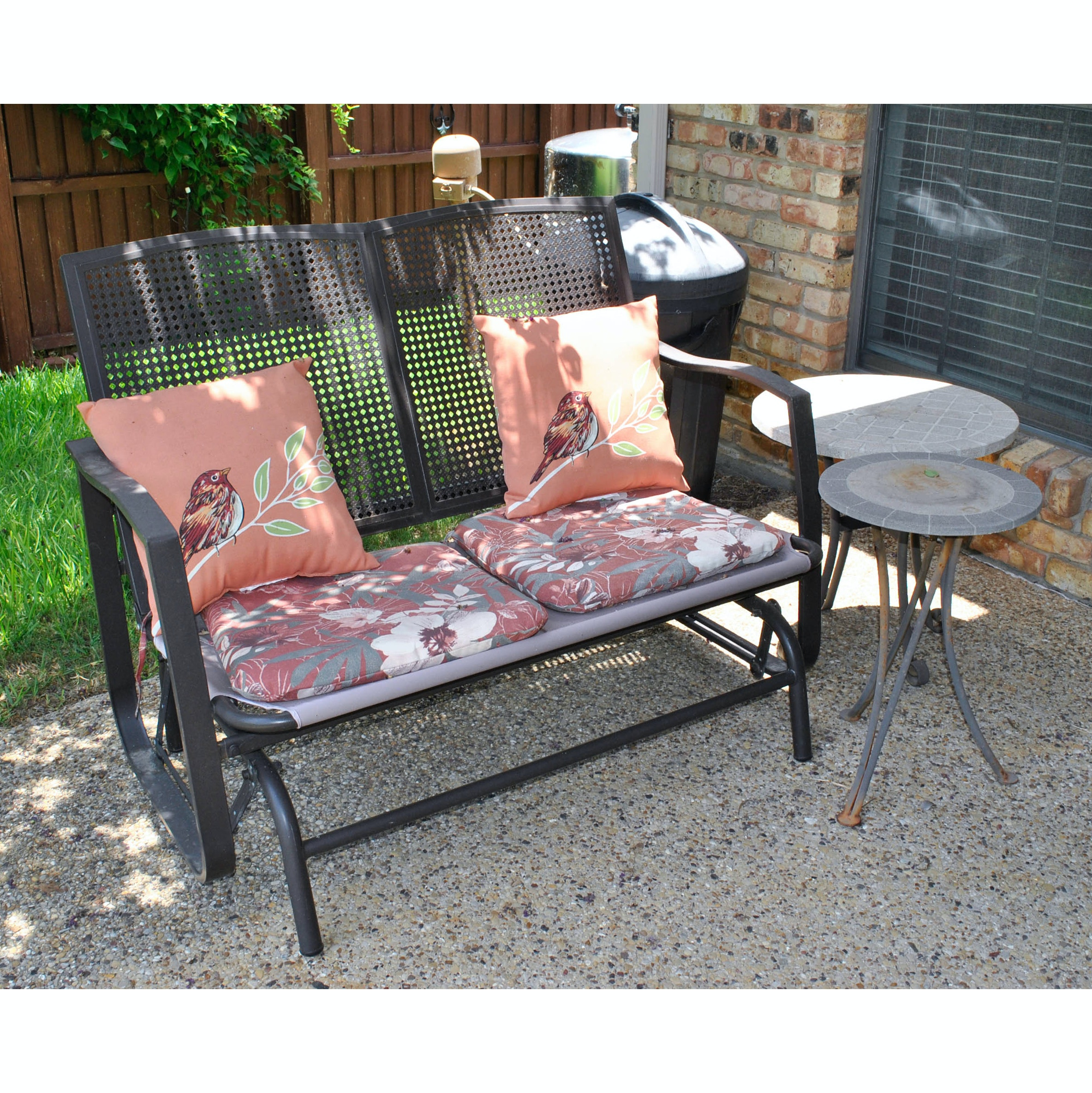 Outdoor Glider Bench and Accent Tables