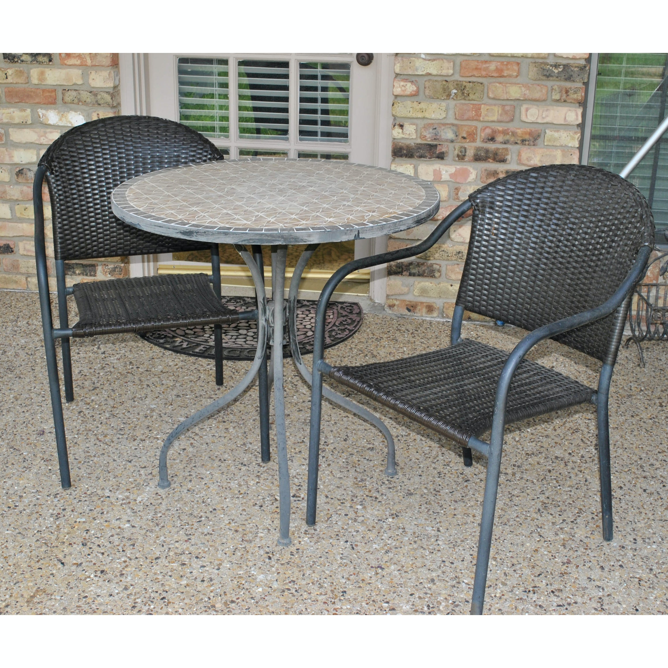Outdoor Mosaic Top Table with Two Armchairs