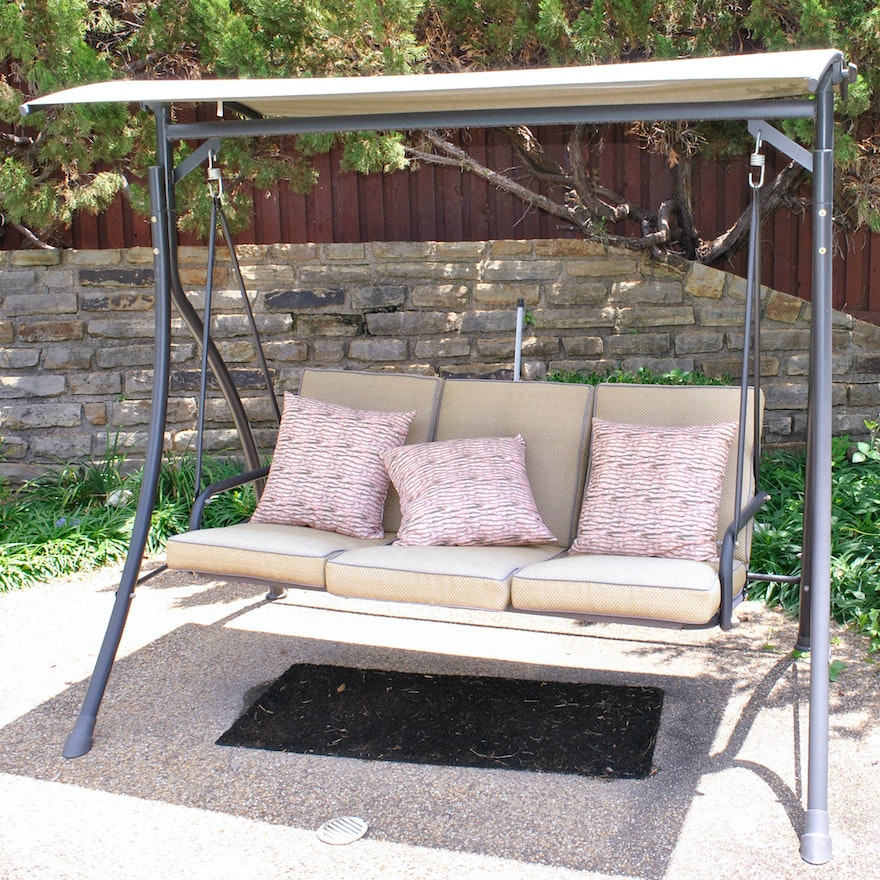 Outdoor Swinging Sofa With Canopy And Cushions