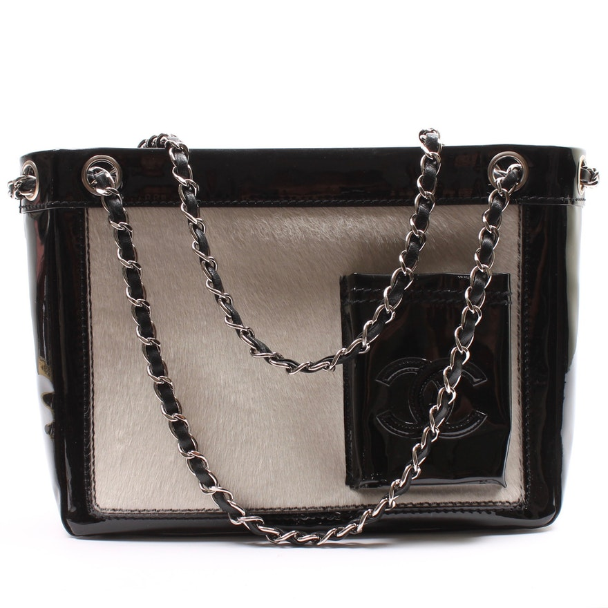 1934e0e7570c Chanel Black Patent Leather and Calf Hair Shoulder Bag   EBTH