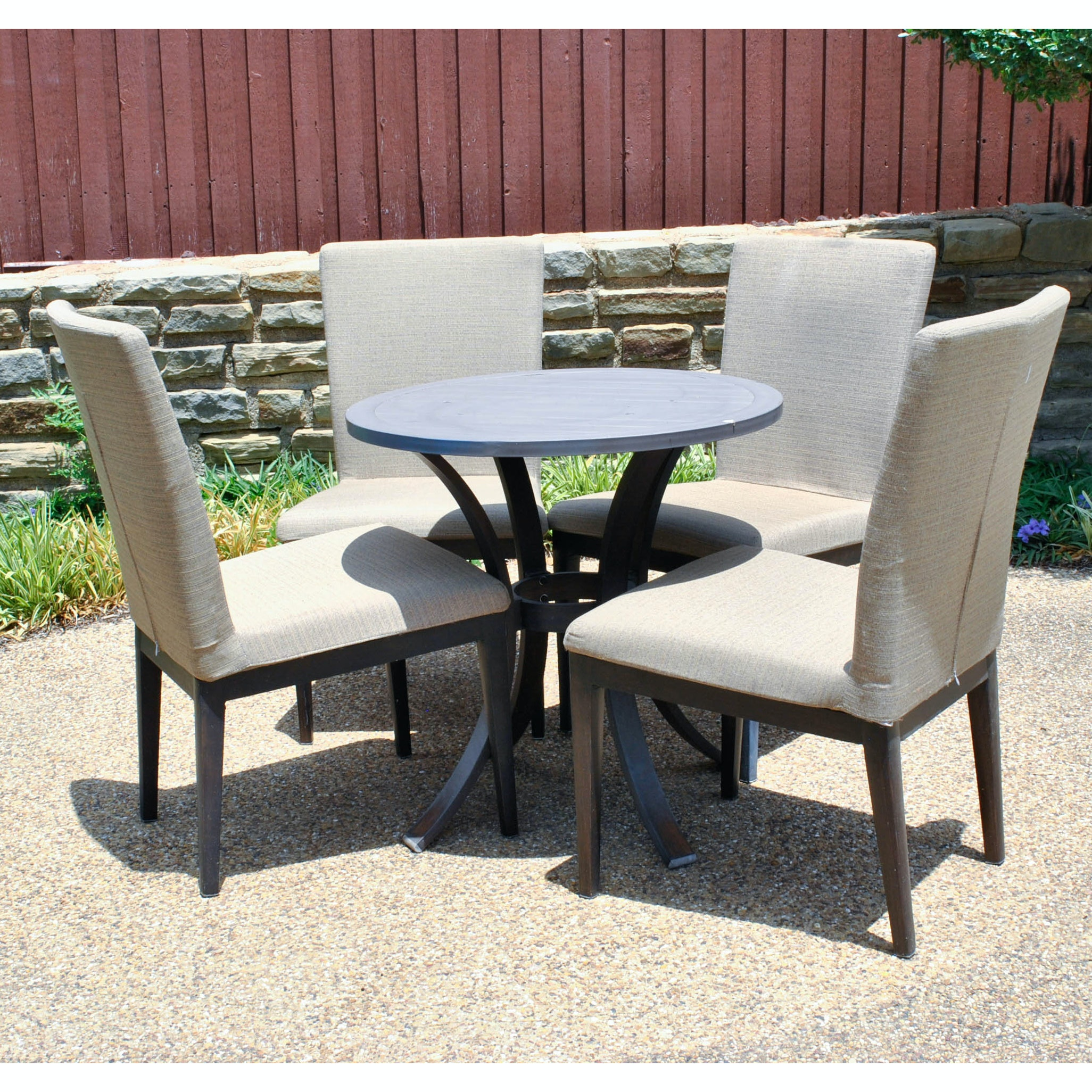 Upholstered Patio Side Chairs and Table