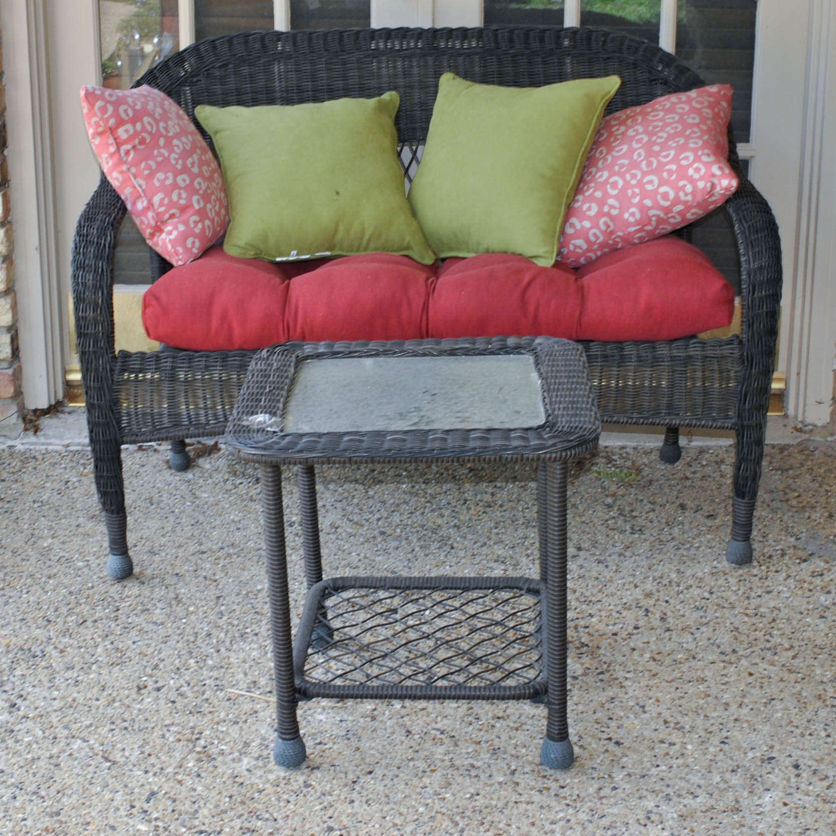 Outdoor Patio Bench and Accent Table
