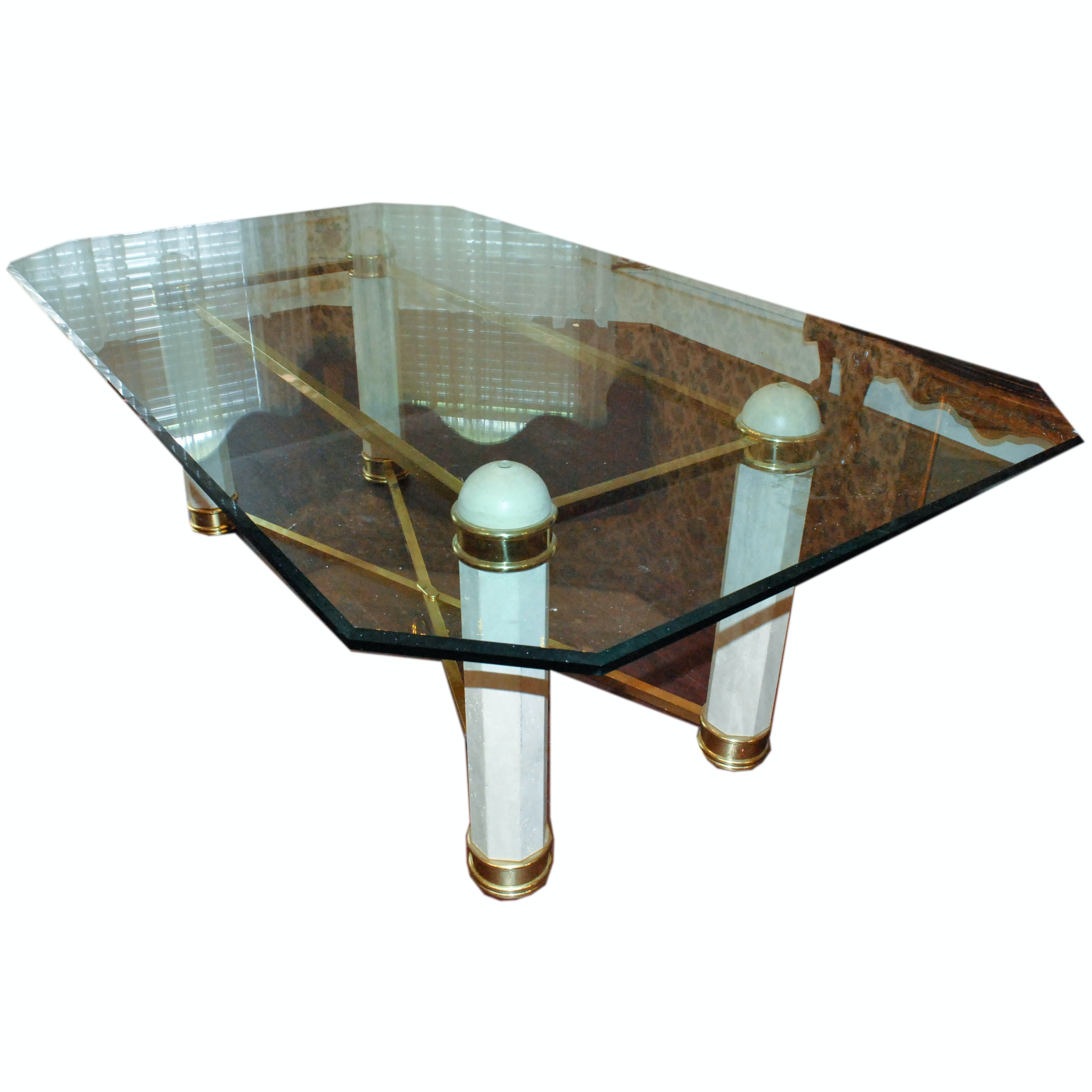 Vintage Glass Top Dining Table