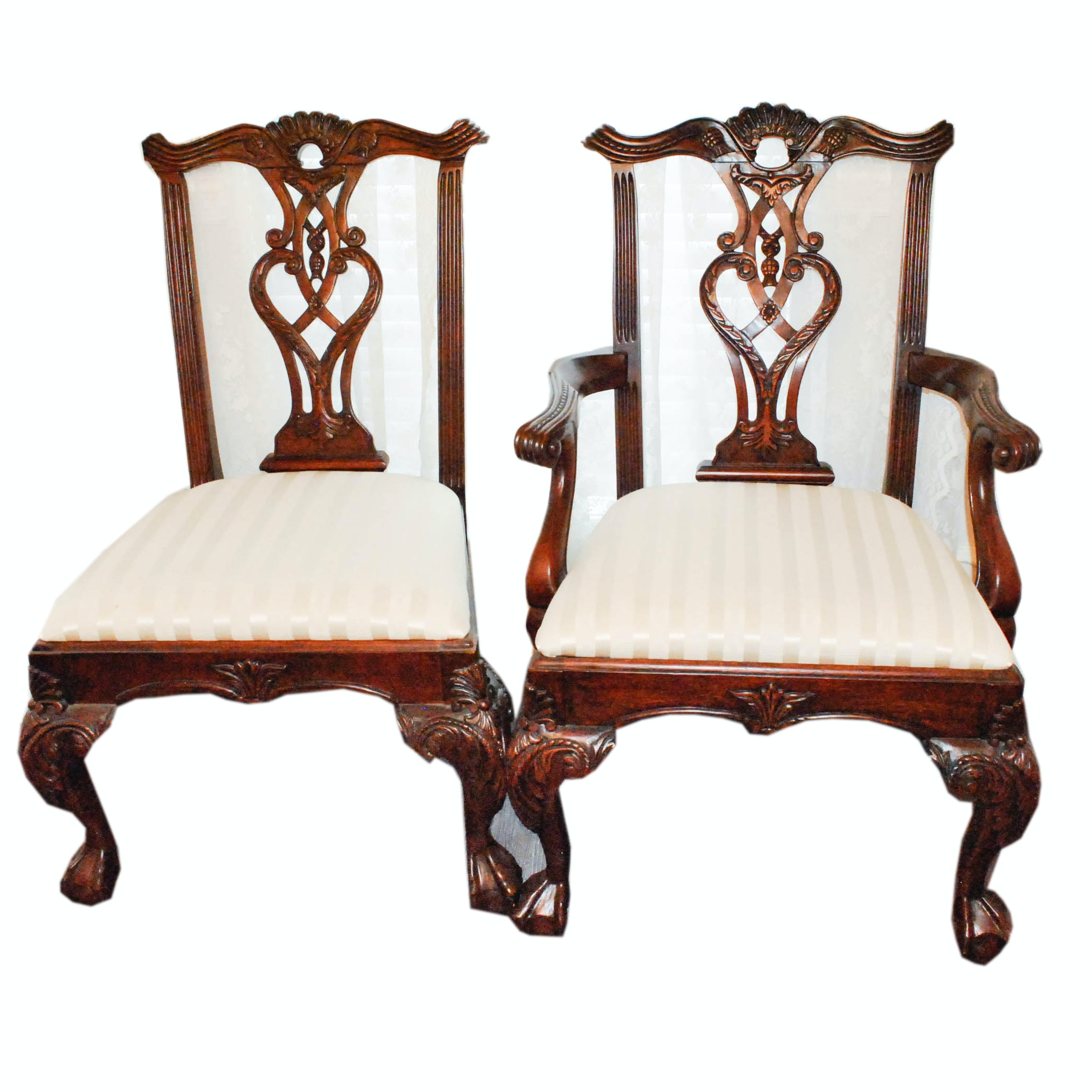 Vintage Chippendale Style Dining Chairs