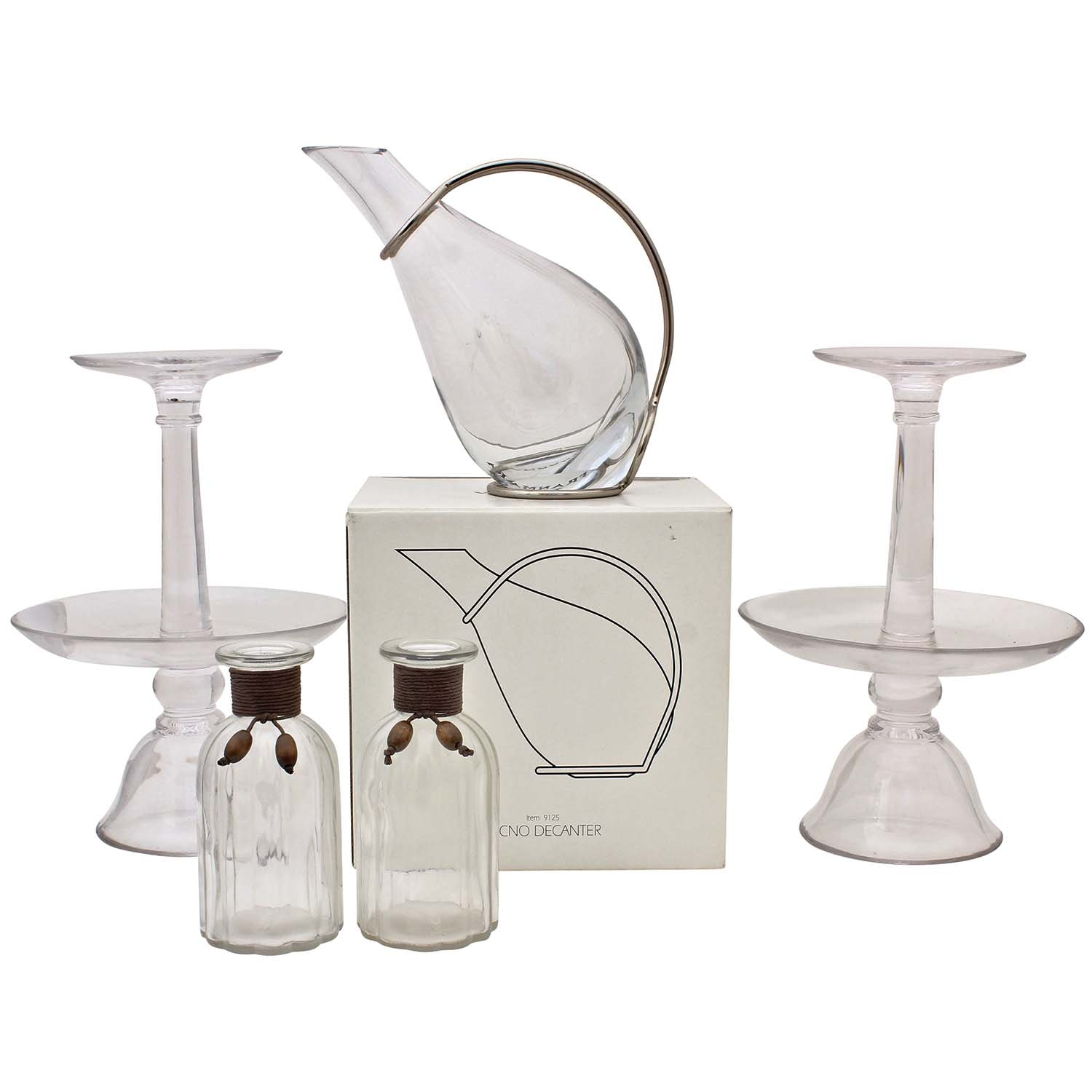 Clear Glassware Including Decanter, Candleholders and Decorative Jars