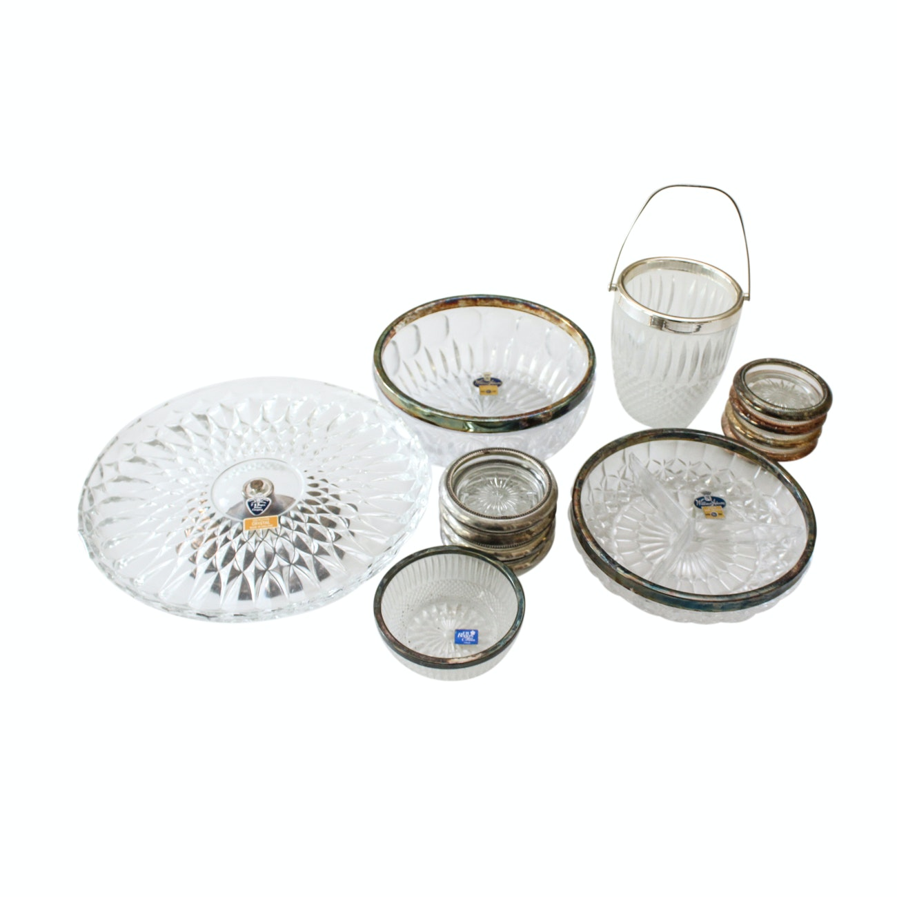 Crystal and Silver Plate Serveware Including William Adams and F.B. Rogers