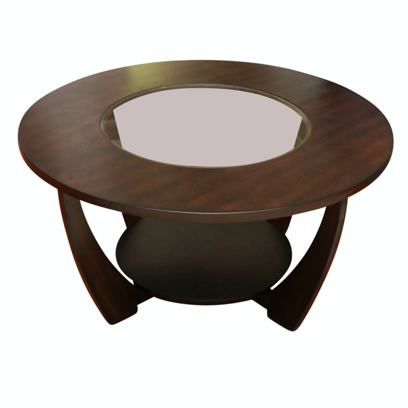 Circular Wood and Glass Coffee Table
