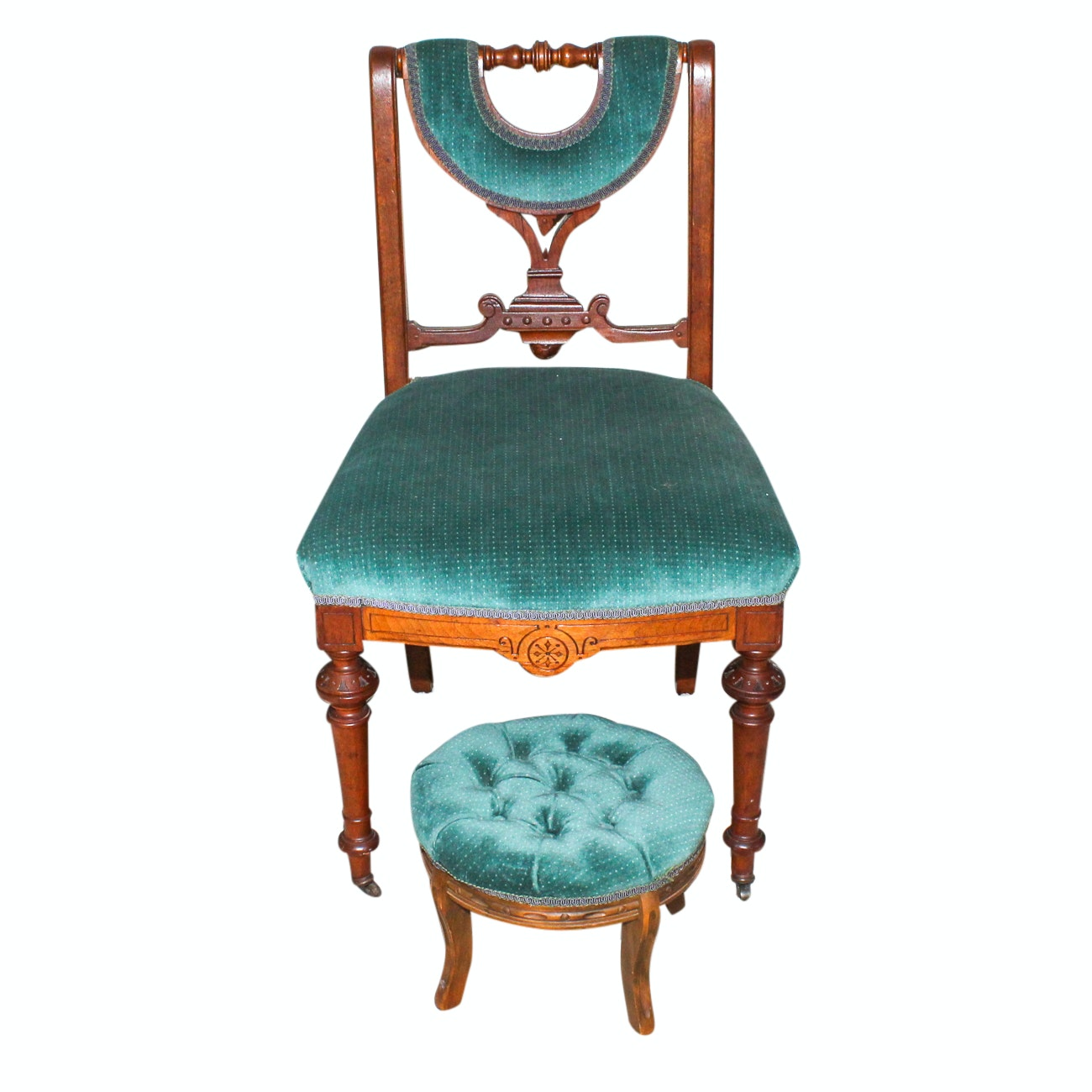 Antique Upholstered Chair and Footstool