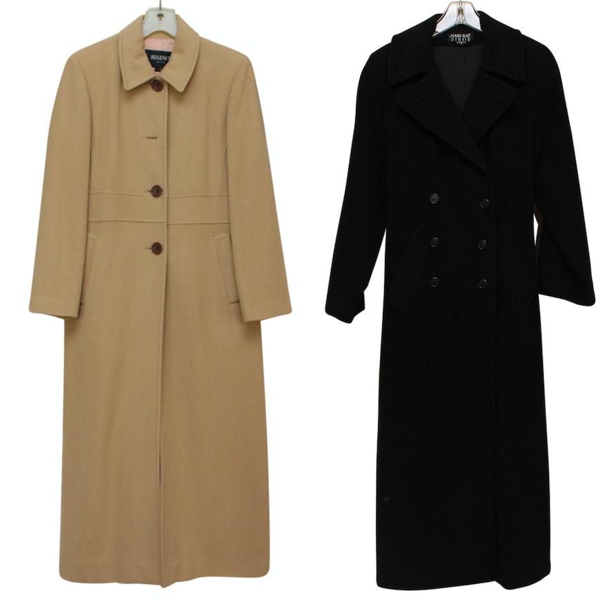 3bf9750a31 Regency Cashmere Coat Size 8 Saks Fifth Avenue Long Black Tie Belt Vintage  80s #SaksFifthAvenue #Trench